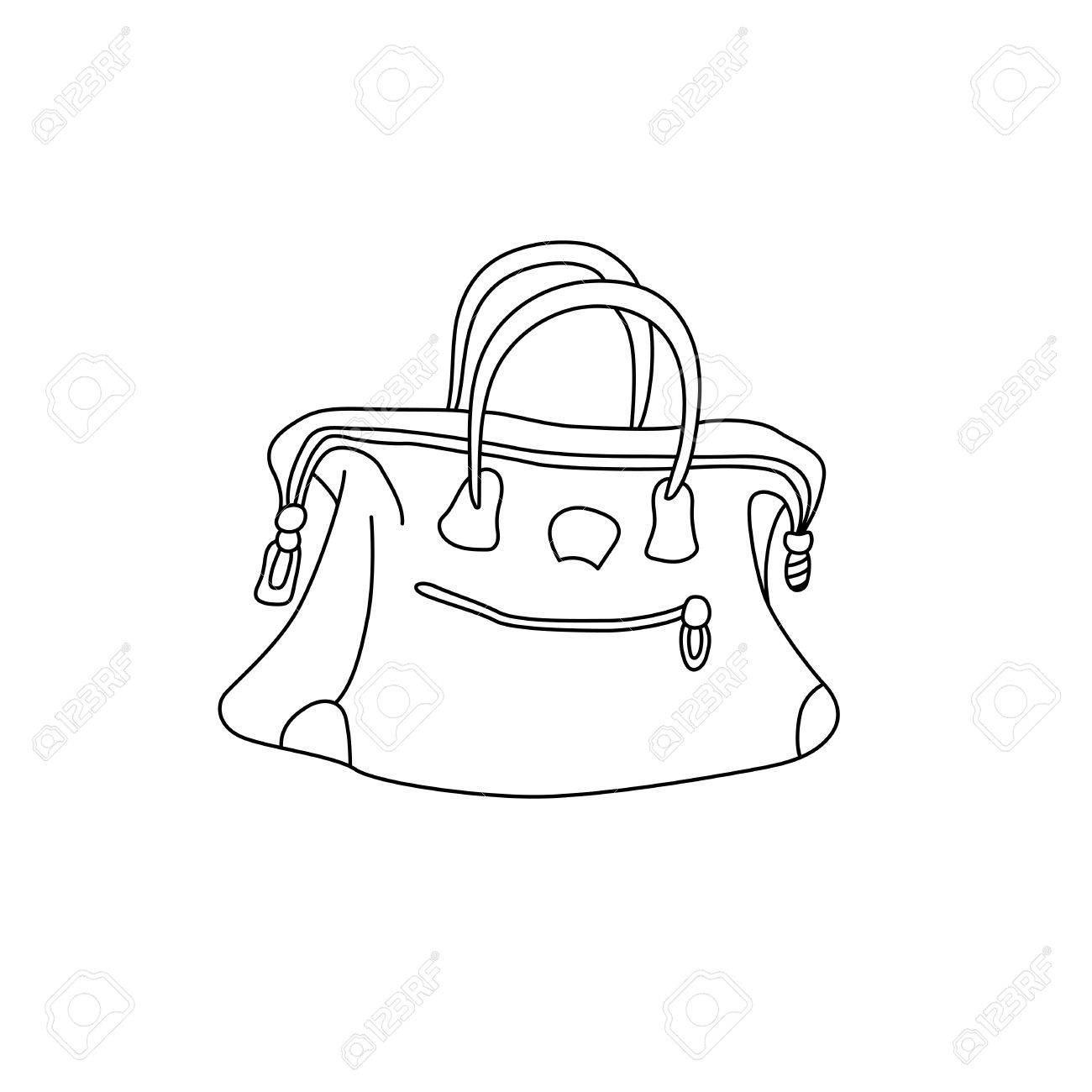 1300x1300 Vector Illustration Of Travel Bag. Hand Drawing Sketch Suitcase