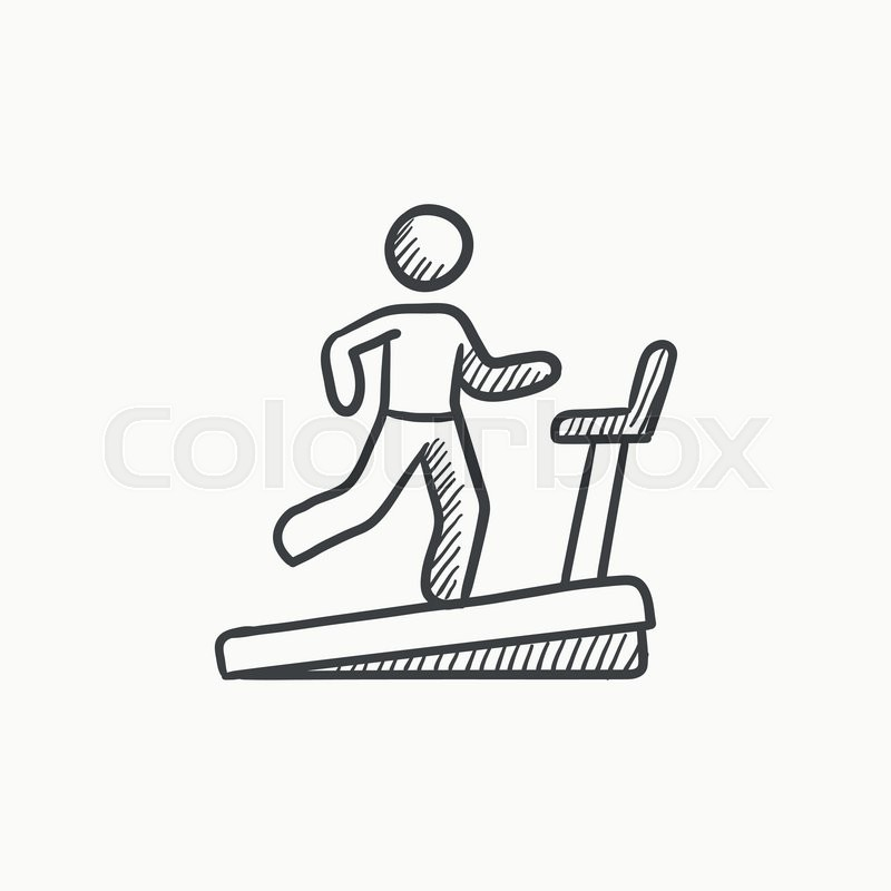 800x800 Man Running On Treadmill Vector Sketch Icon Isolated On Background