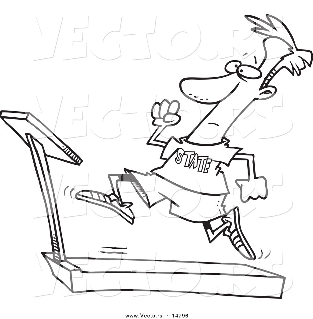 1024x1044 Vector Of A Cartoon Man Sprinting On A Treadmill