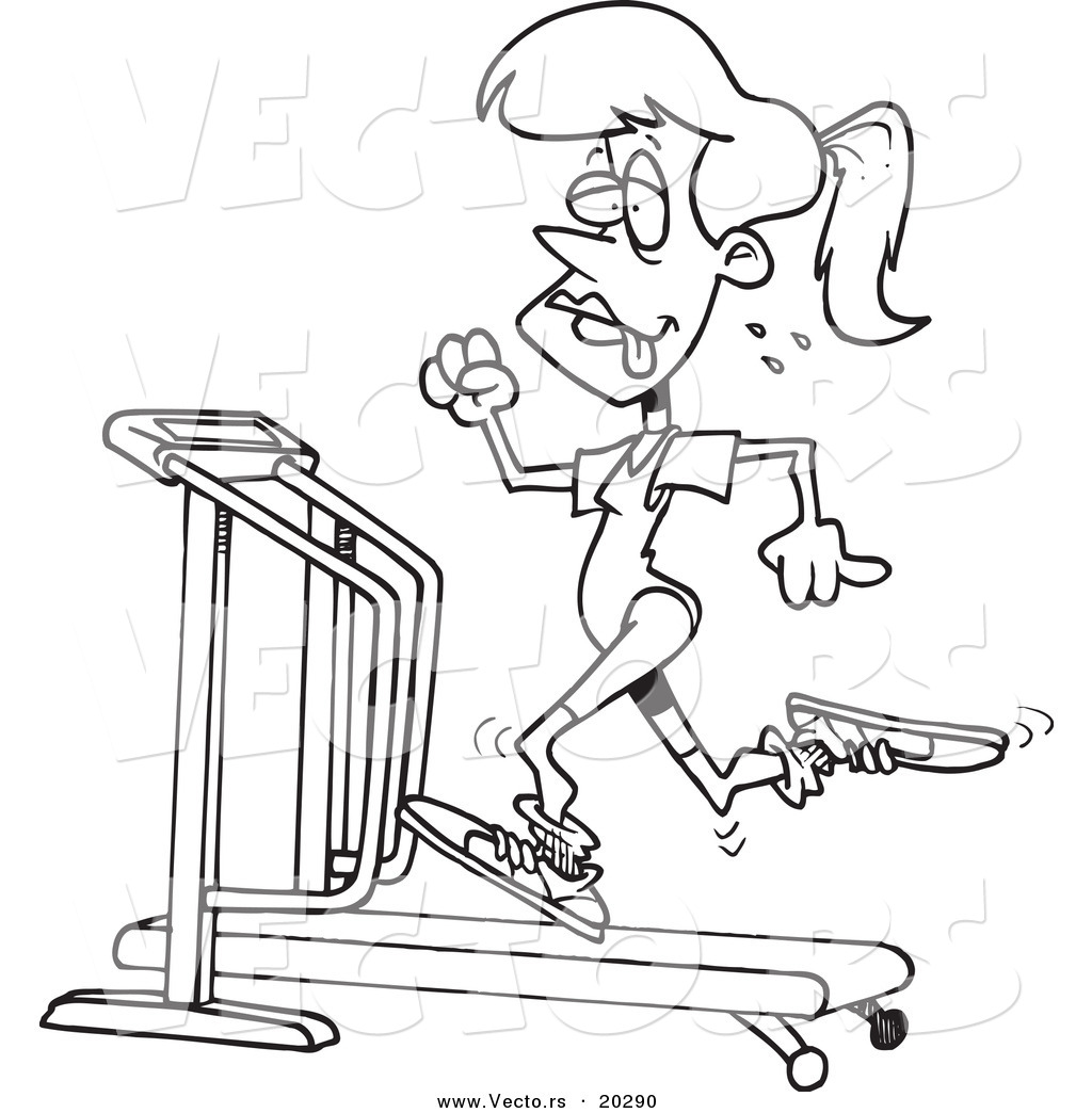 1024x1044 Vector Of A Cartoon Sweaty Woman Running On A Treadmill
