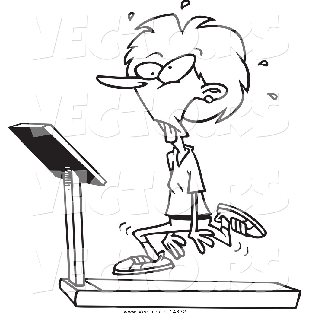 1024x1044 Vector Of A Cartoon Woman Jogging On A Treadmill