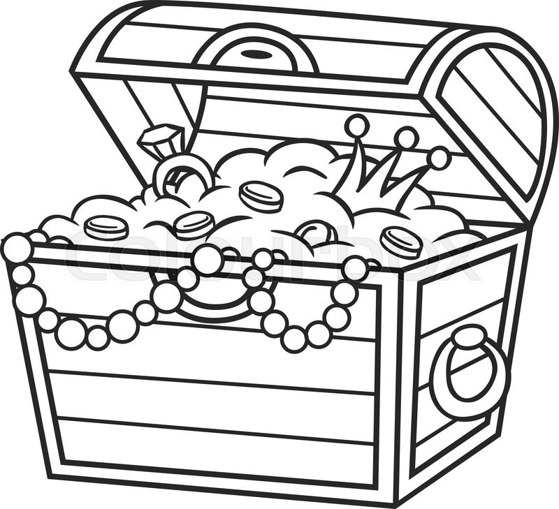 Treasure box drawing at free for for Treasure chest coloring pages printable