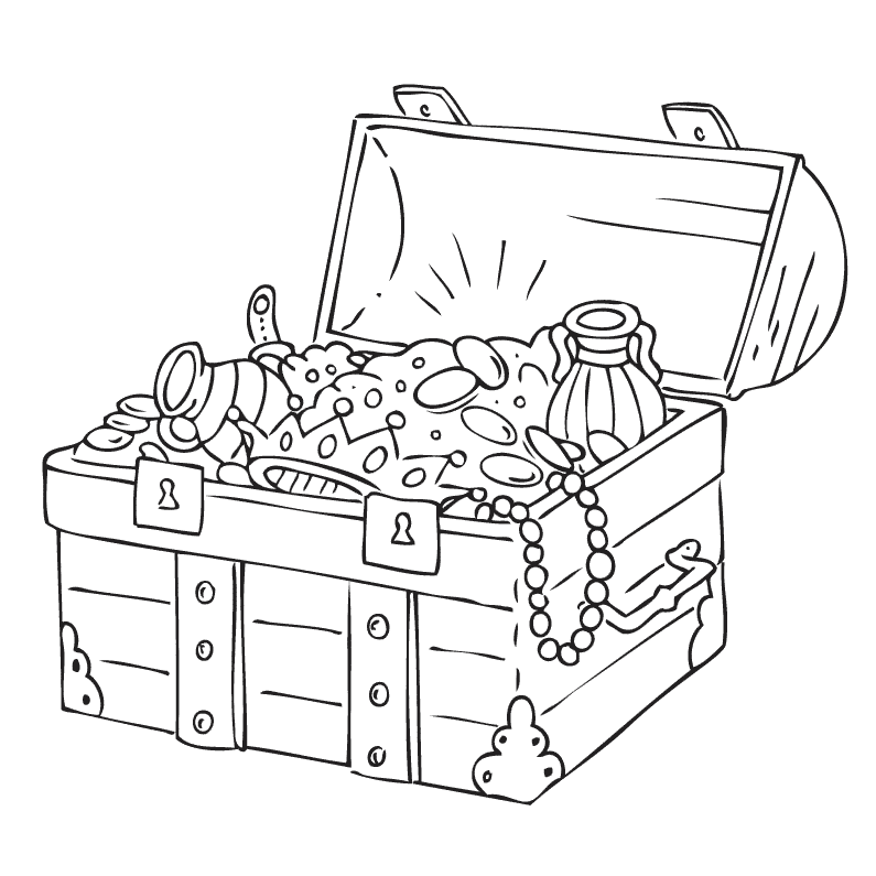treasure chest coloring page - treasure chest drawing at free for