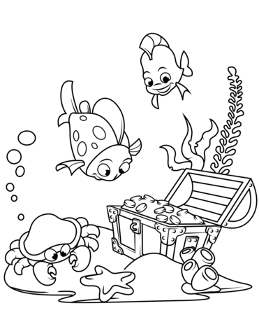 371x480 Treasure Chest On The Bottom Of The Sea Coloring Page Free