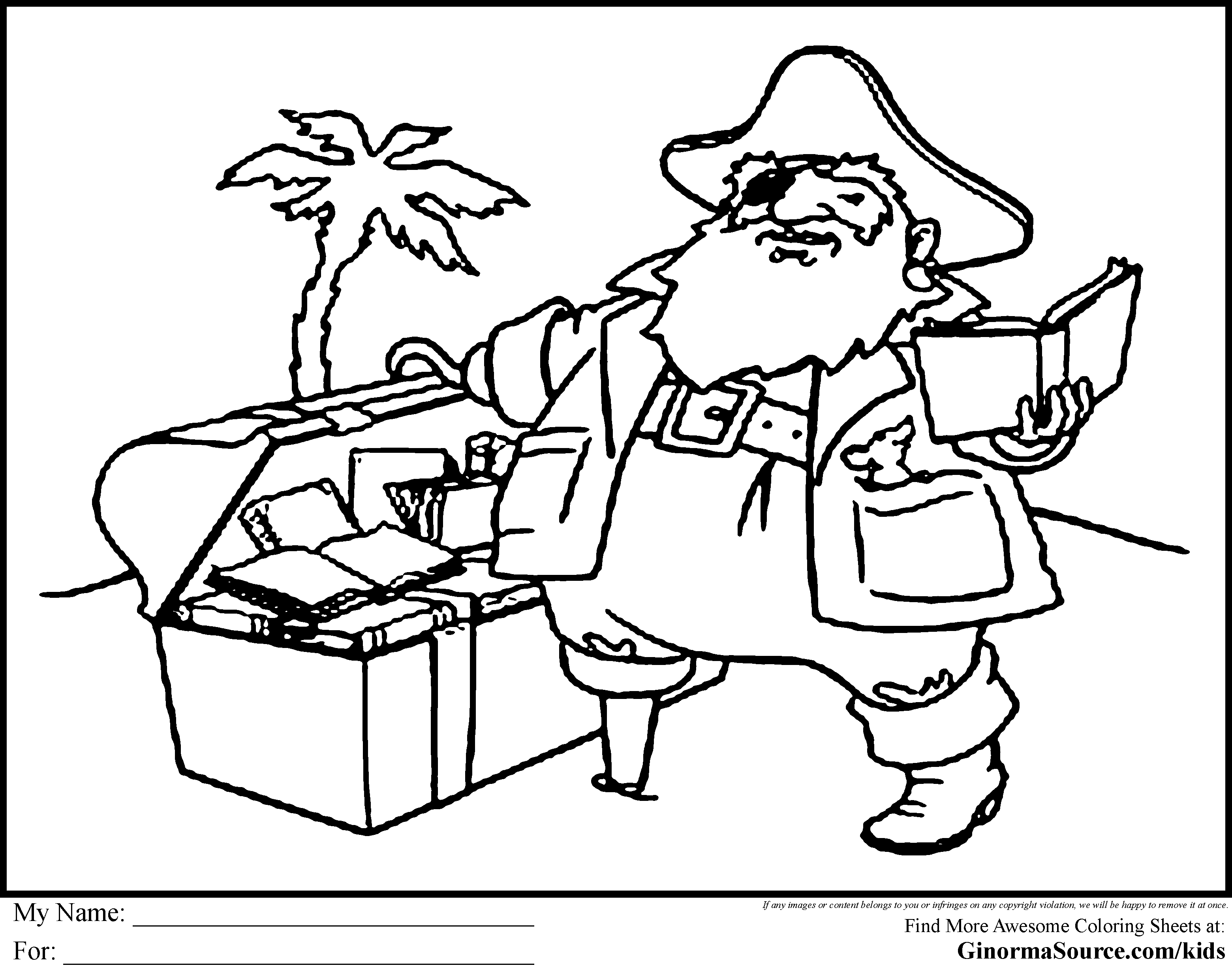 Treasure chest drawing at free for for Pirate coloring pages for preschool