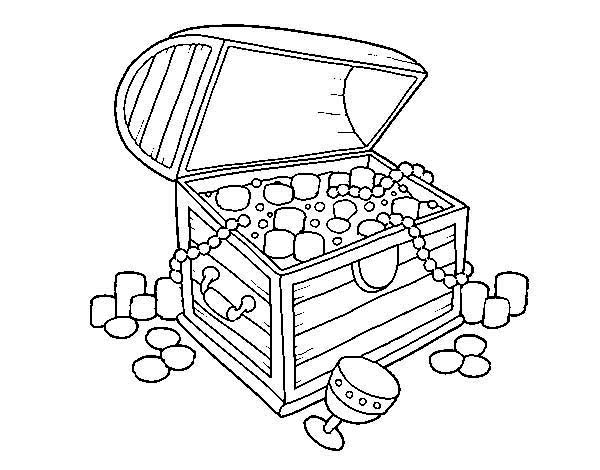 Treasure chest line drawing at free for for Treasure chest coloring pages printable