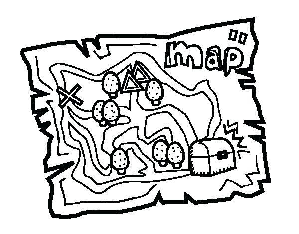 600x470 Treasure Map Coloring Sheet Printable Pirate Map Treasure Map