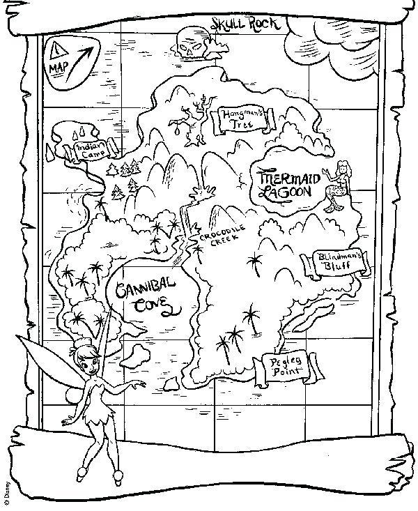 600x733 Treasure Map Coloring Sheet Printable Pirate Map Treasure Map