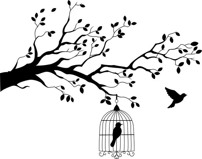 700x549 Tree Silhouette With Bird Flying Canvas Print We Live