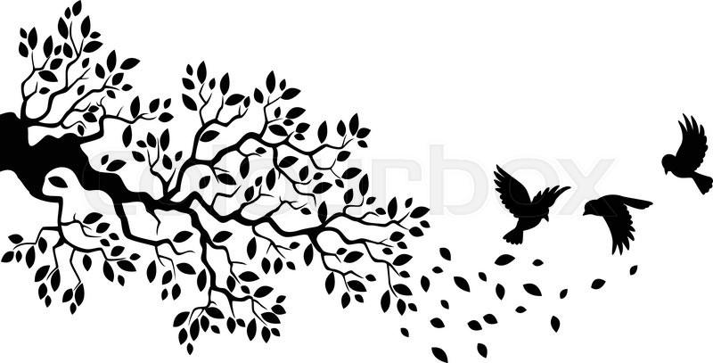 800x407 Vector Illustration Of Cartoon Tree Branch With Bird Silhouette