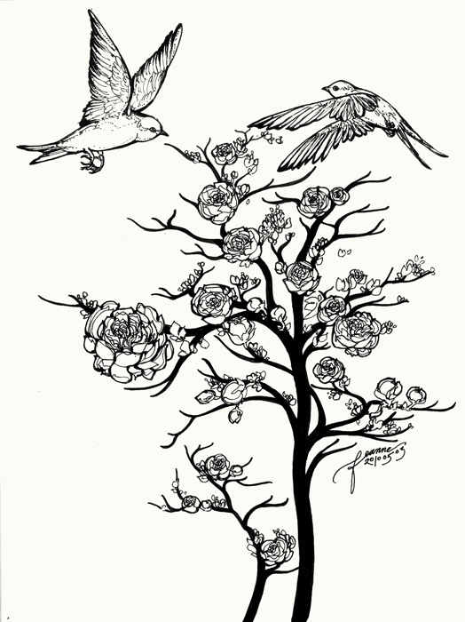 524x700 Two Birds Meet Over Rose Tree By Feanne