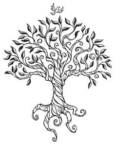 236x298 A Simple Graphic Tree, Drawn On 3 Layers, With Leaves, Branches