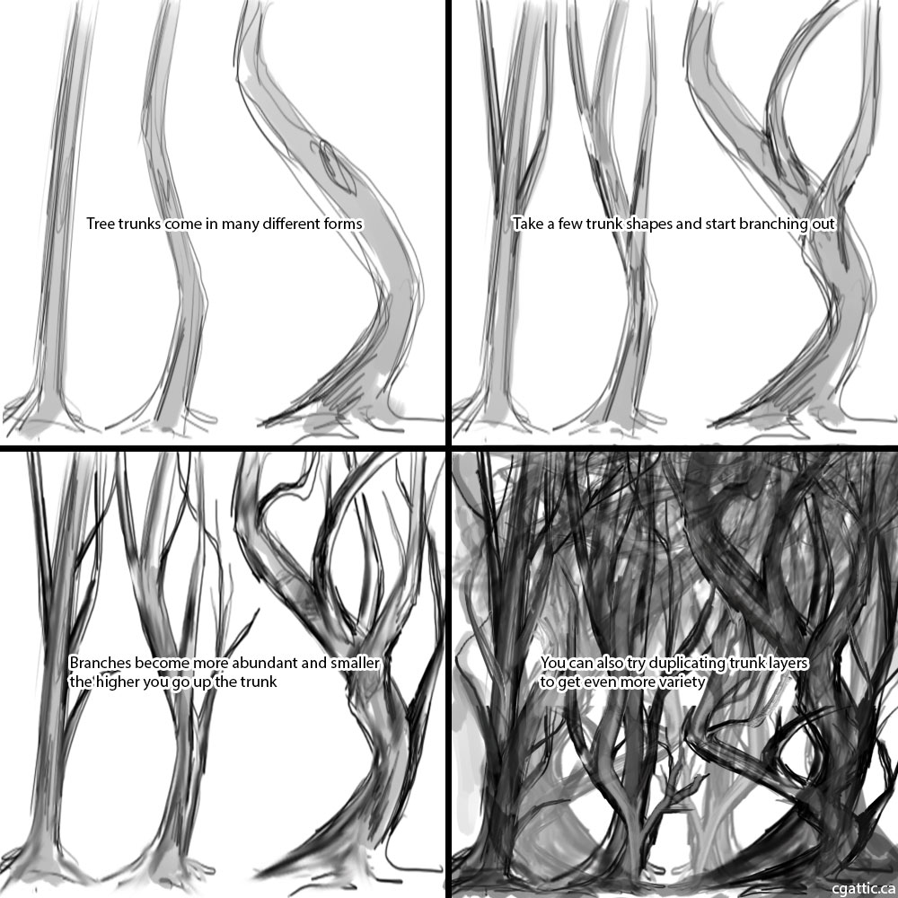 1000x1000 Realistic Tree Drawings In 4 Steps With Photoshop