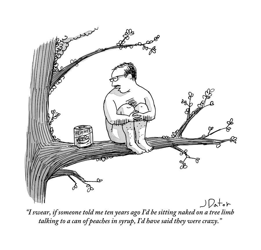 900x864 A Naked Man Sitting On A Tree Branch Is Talking By Joe Dator