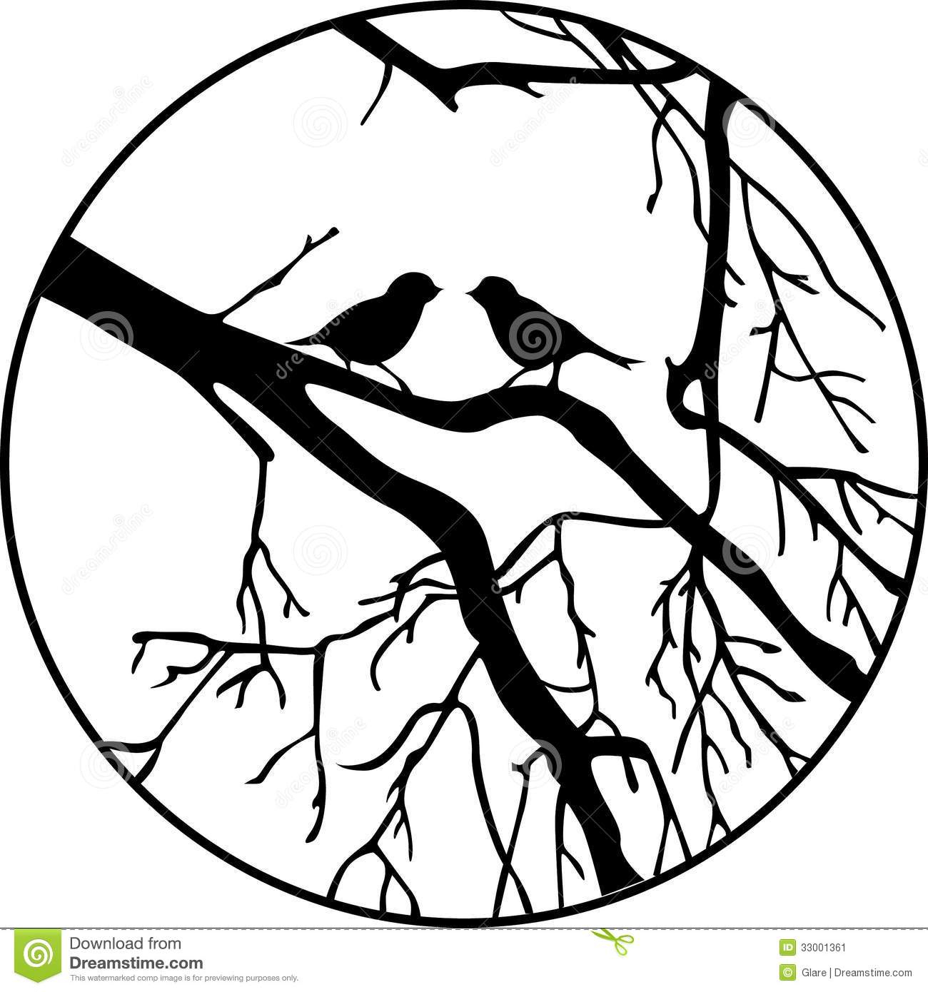 1300x1390 Bird On Tree Drawing Pics For Gt Tree Branches Black And White