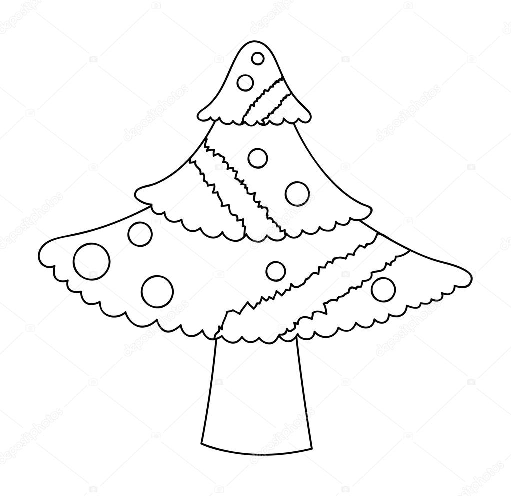 1023x993 Christmas Tree Drawing — Stock Vector © baavli