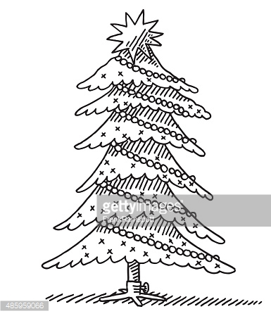 385x449 Drawn Fir Tree Xmas Tree