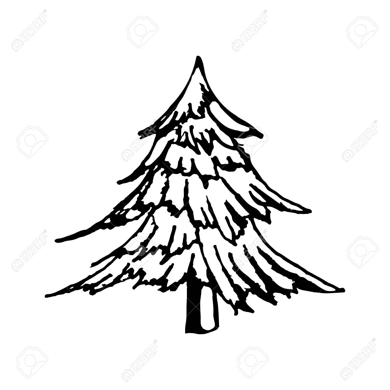 1300x1300 Hand Draw A Christmas Tree In The Style Of A Sketch, For Postcards
