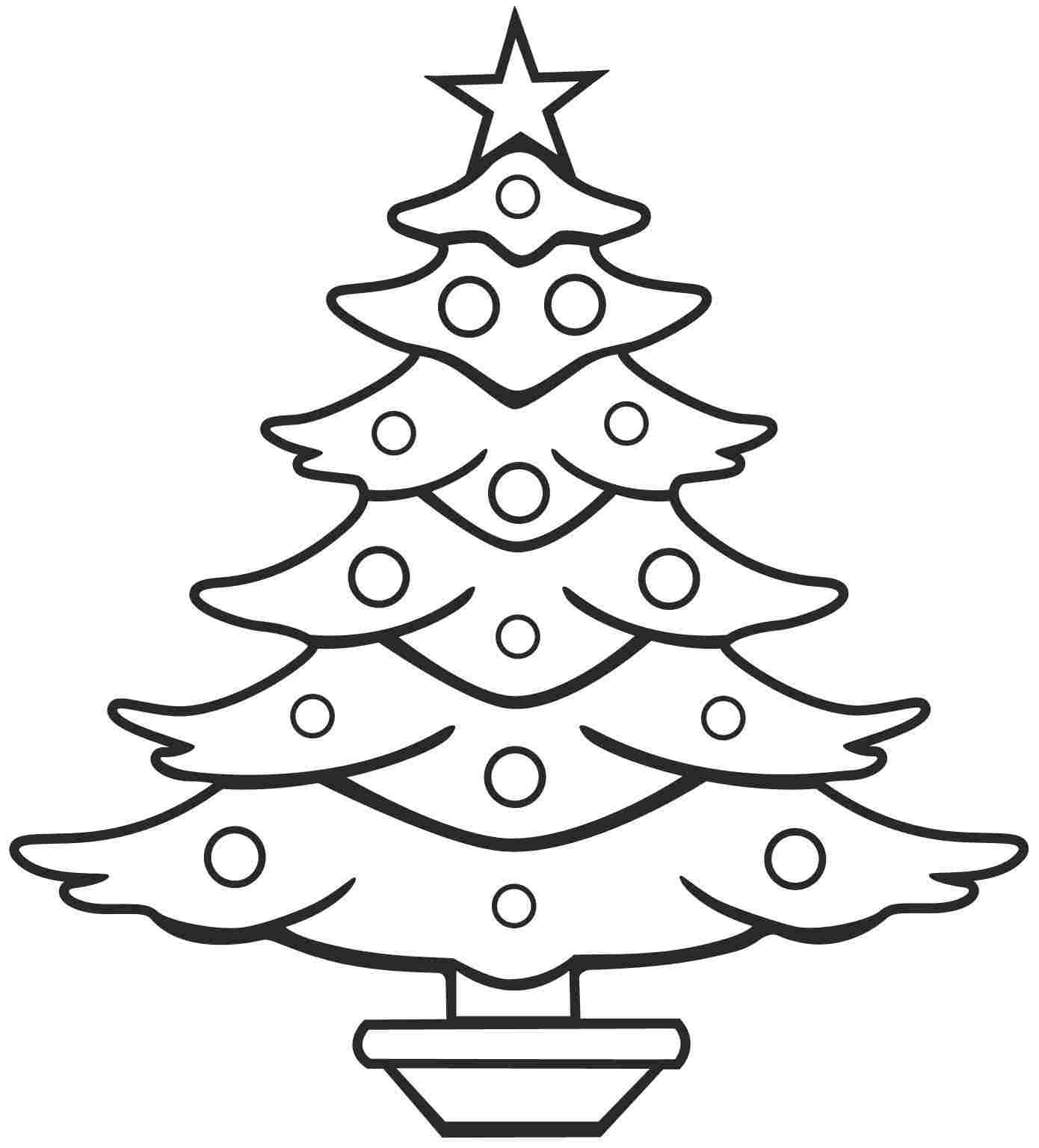 1390x1536 Line Drawing Christmas Tree