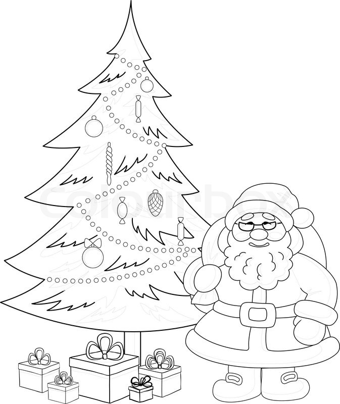 673x800 Santa Claus and Christmas tree, contours Stock Vector Colourbox