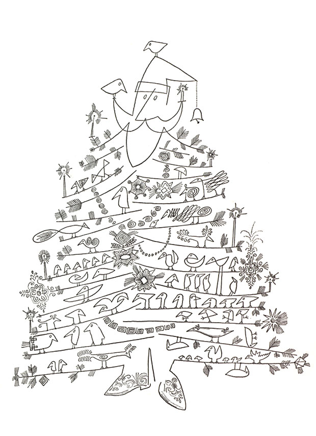 "620x854 Santa Claus as Christmas Tree"" by Saul Steinberg, c. 1949"