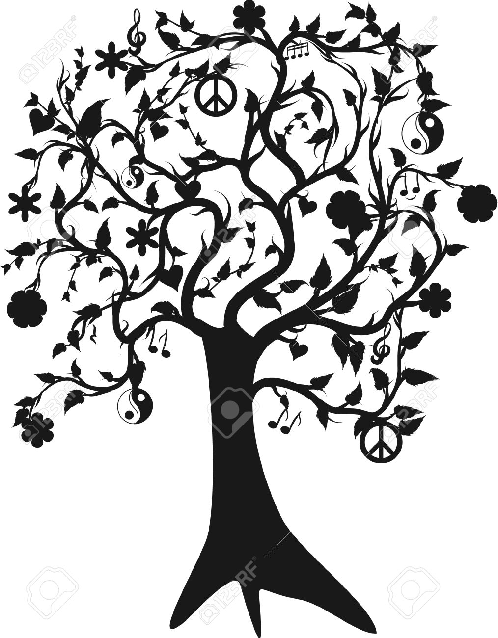 1014x1300 Tree Of Life Growing And Peace, One Color. Royalty Free Cliparts
