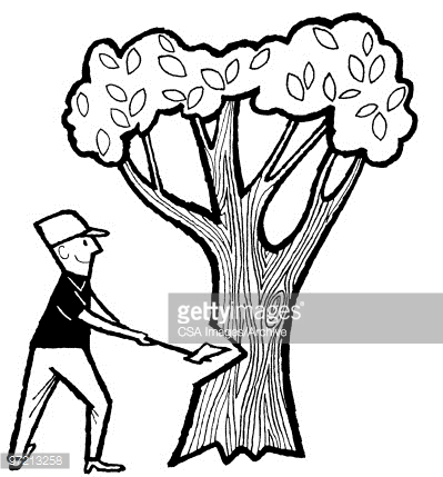 399x429 A Man Cutting A Tree With An Axe Clipart