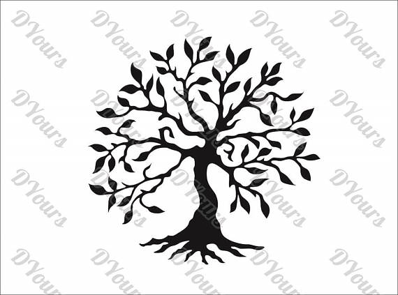 570x423 Large Olive Tree Vector Model svg cdr pdf dxf files