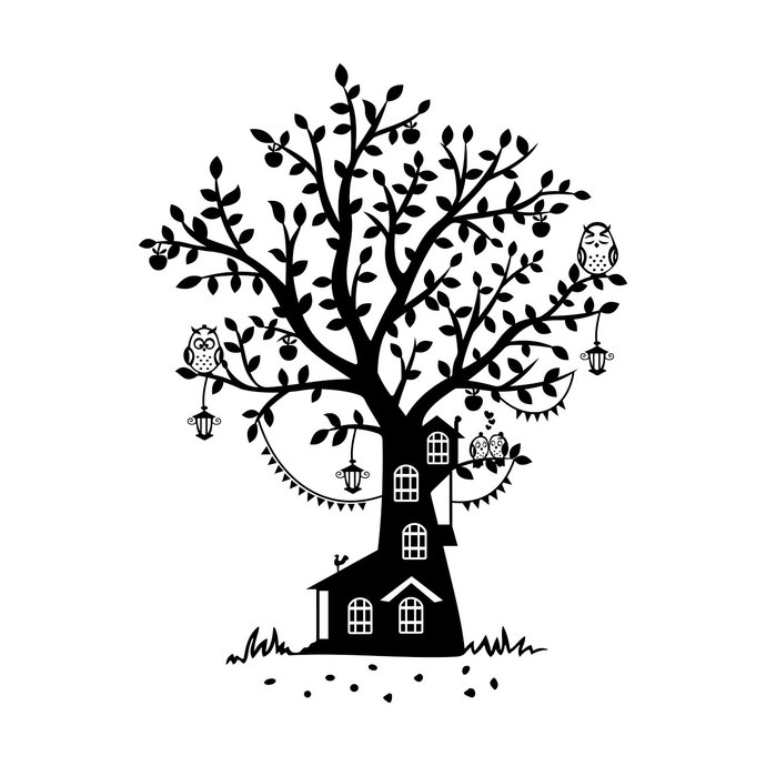 690x690 Owl Tree Cottage graphics design SVG DXF EPS by vectordesign on Zibbet