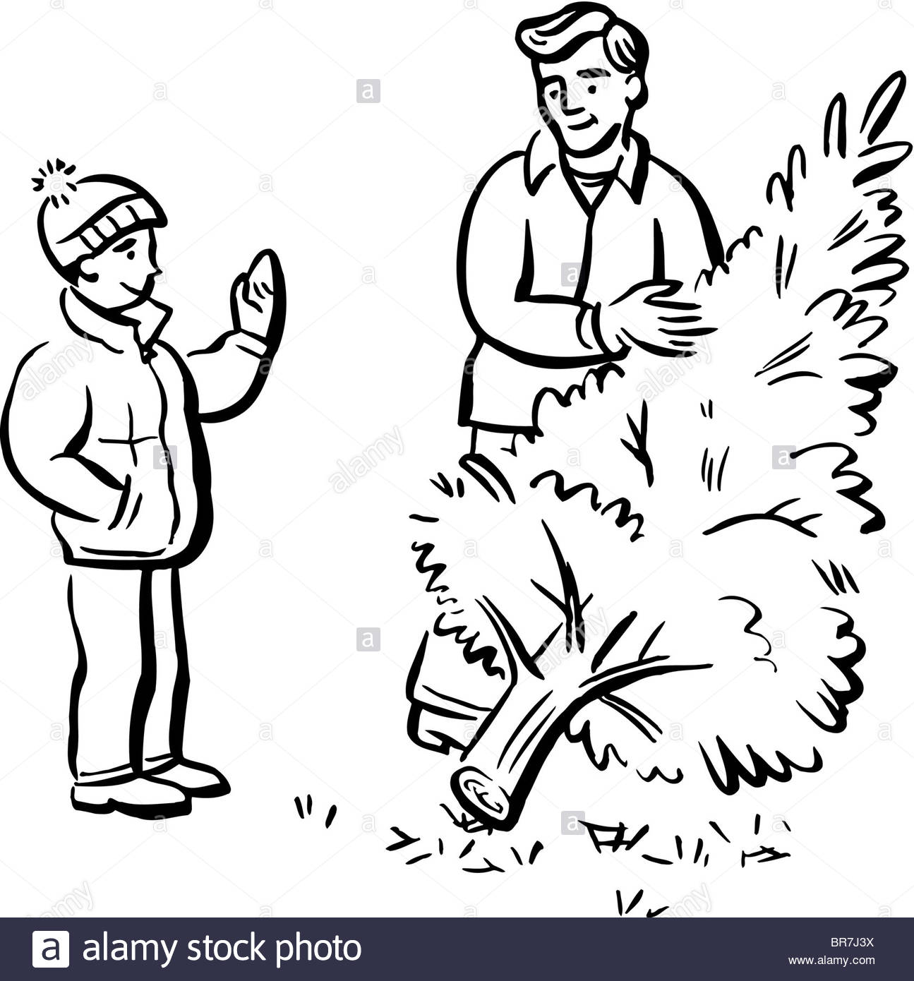 1295x1390 A man cutting down a tree represented in black and white Stock
