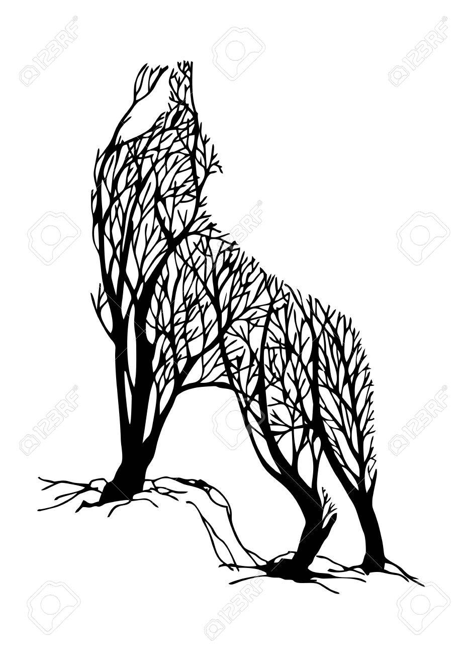 919x1300 Mysterious Aggressive Wolf Howl Silhouette Double Exposure Blend