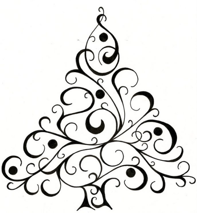 687x743 Coloring Pages Wonderful Christmas Tree Drawing Coloring Pages