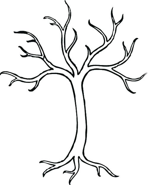 500x625 Trees Without Leaves Coloring Page Free Download