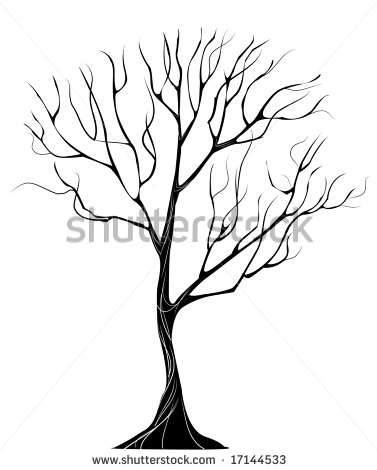 377x470 Black Silhouette Of Stylized Thin Tree Without Leaves On A White