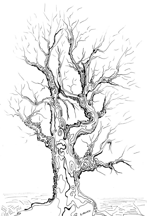 615x900 oak tree abstract study painting by regina valluzzi