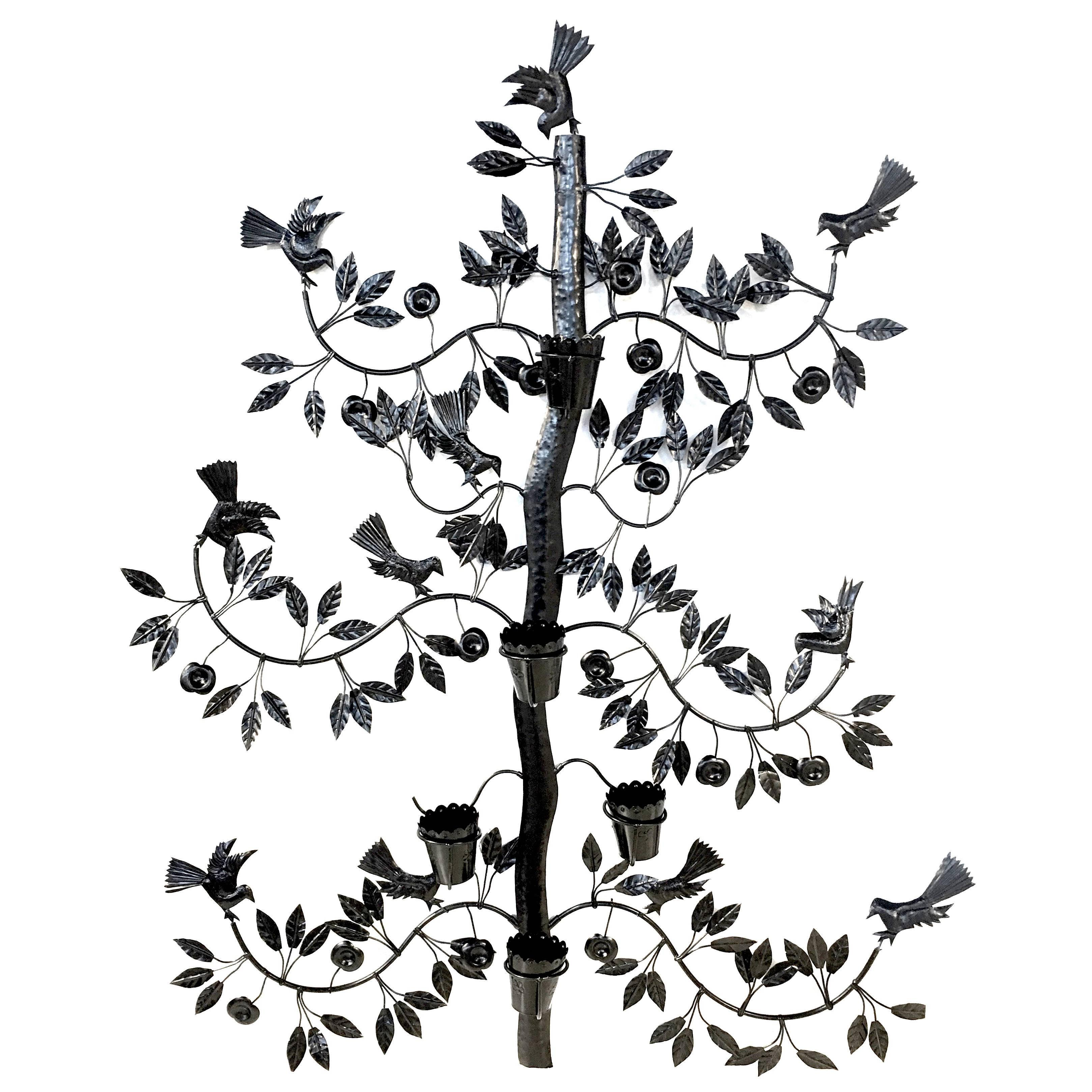3238x3238 Mexican Black Wrought Iron Tree Of Life Wall Planter For Sale