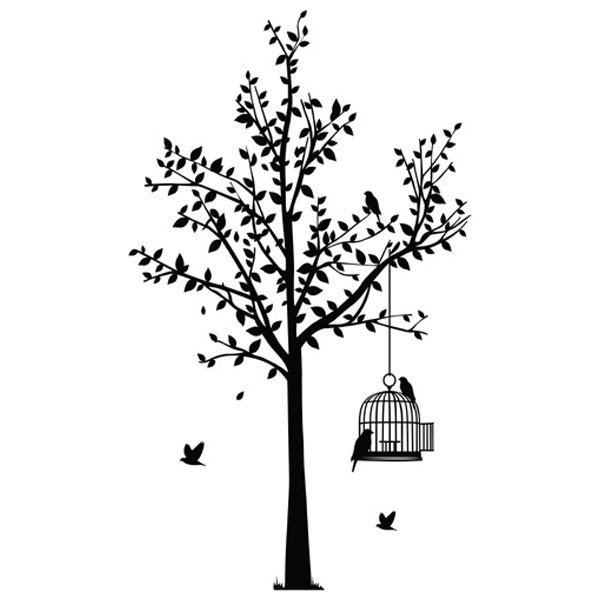 600x600 Tree Amp Birdcage Wall Sticker