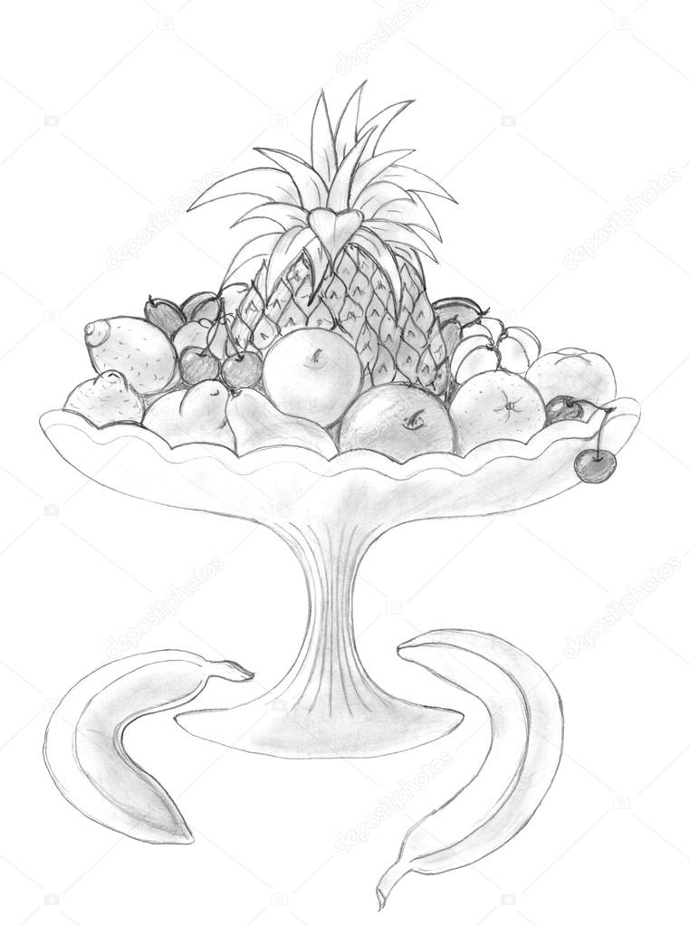 762x1023 Fruits In A Vase Pencil Drawing Stock Photo Nadyaus