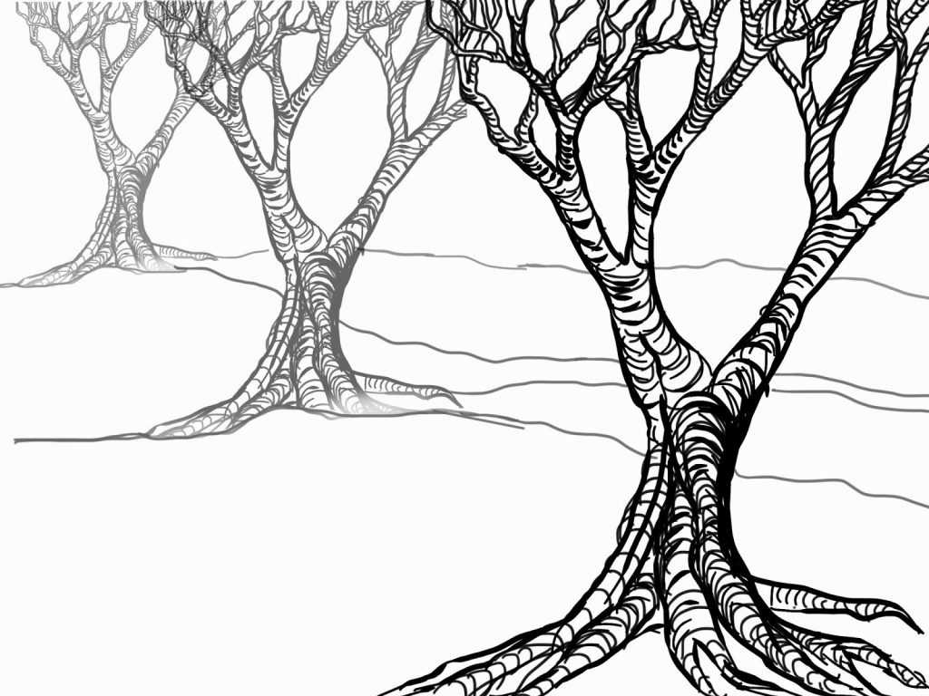 1024x768 Leaves Clipart Tree Drawing