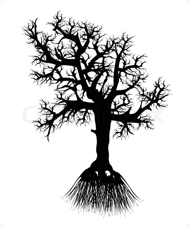 671x800 Silhouette Tree With Root Stock Vector Colourbox