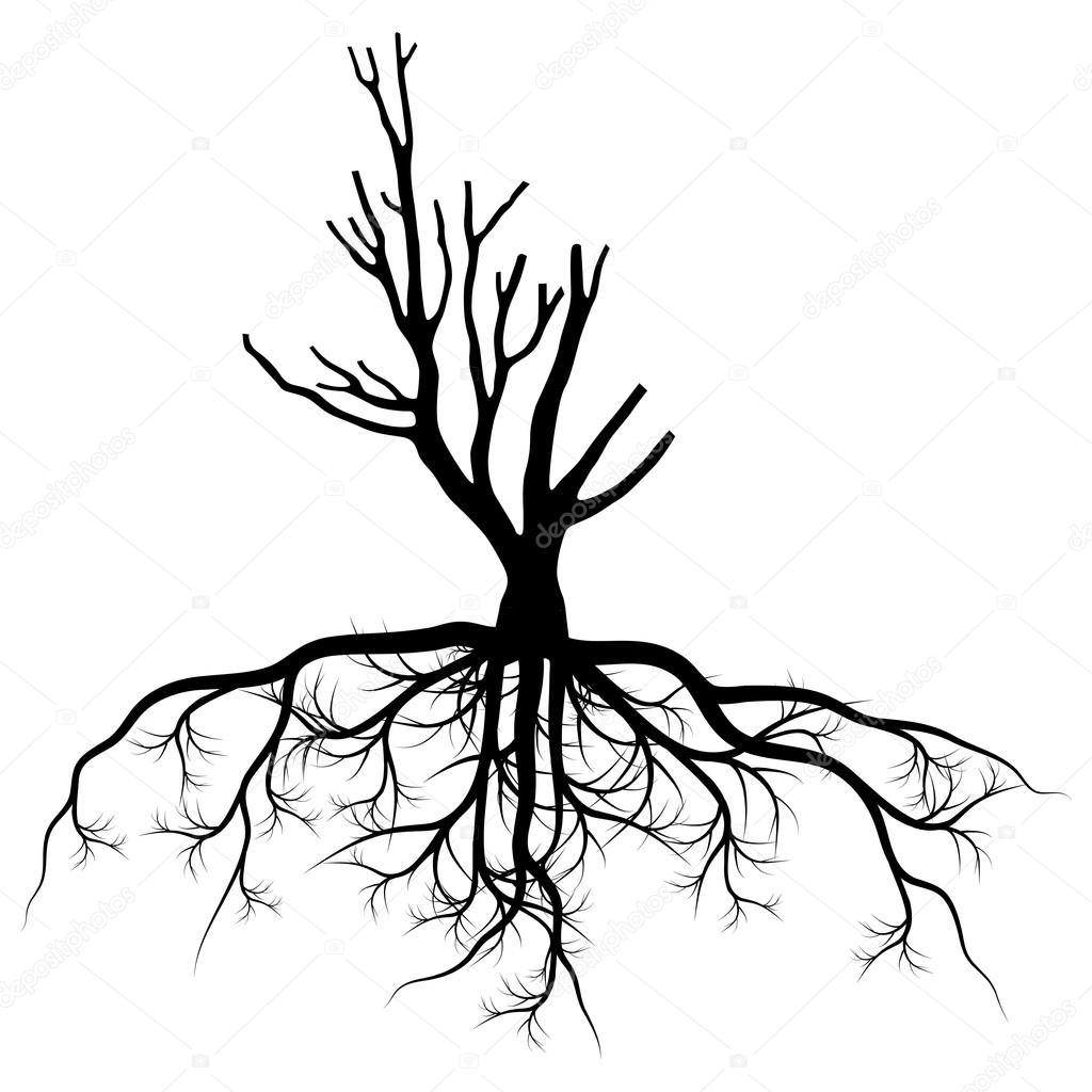 1024x1024 Tree With Roots Background Vector Pollution Concept Stock Vector