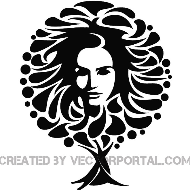 660x660 Girl Face And The Tree Vector Image