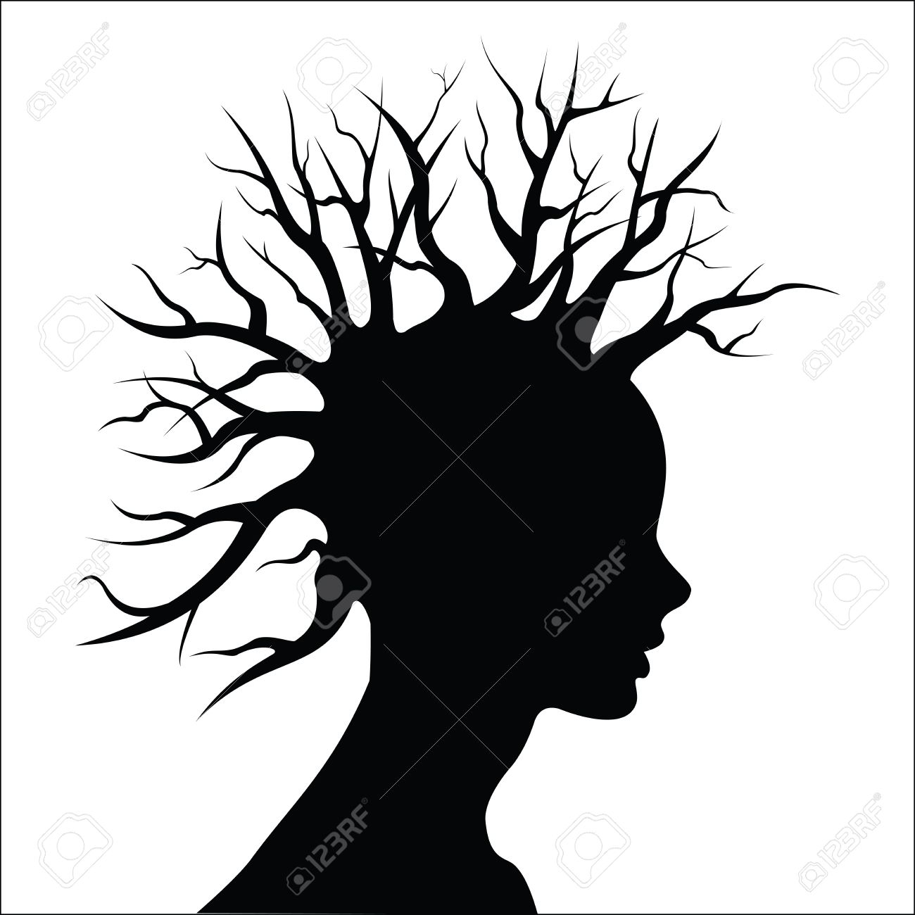 1300x1300 Head Silouete With Tree And Hair Royalty Free Cliparts, Vectors