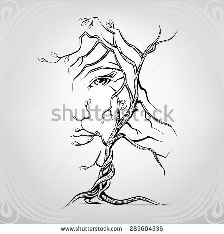 450x470 Woman's Face In The Form Of A Tree Tattoo Ideas