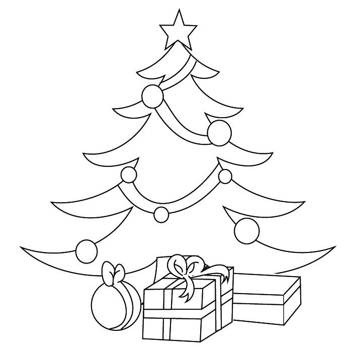 Елка новогодняя с подарками рисунок 96