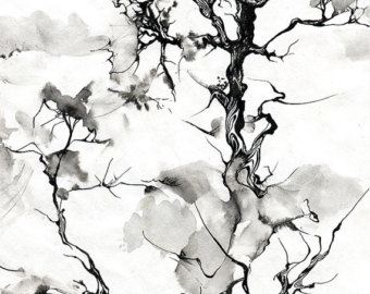340x270 Pen And Ink Drawing Original Drawing Tree Spirit Fairy