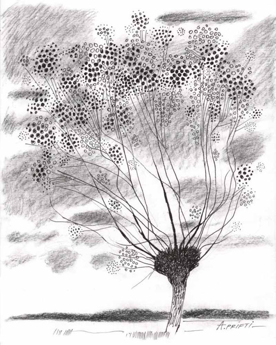 570x713 Print Of Landscape Drawing Tree Ink Drawing Rectangular