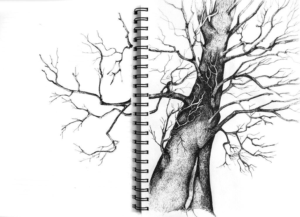 1024x742 Under The Tree (Sketchbook Ink Drawing) By Darkcreature82