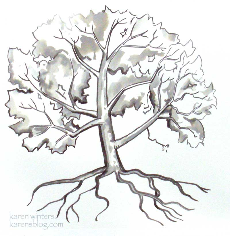 800x821 California Sycamore Tranquility Ink Brush Painting
