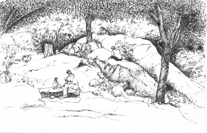 690x442 Cubbon Park, Bangalore. By Artist Badal Majumdar Illustration
